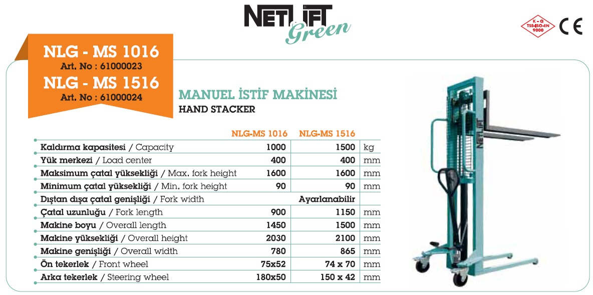 Netlift NLG MS model manuel istif makinaları